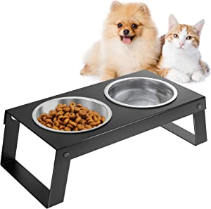 VavoPaw Elevated Dog Bowls, Metal Dog Cat Raised Stand Feeder with Double Stainless Steel Bowls(14.5fl oz/430ml), Detachable Elevated Food & Water Dish for Cats, Puppy and Small Medium Dogs, Black