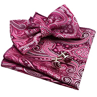 2c281ed8f701 Alizeal Mens Floral Jacquard Bow Tie, Hanky and Cufflinks Set, Magenta