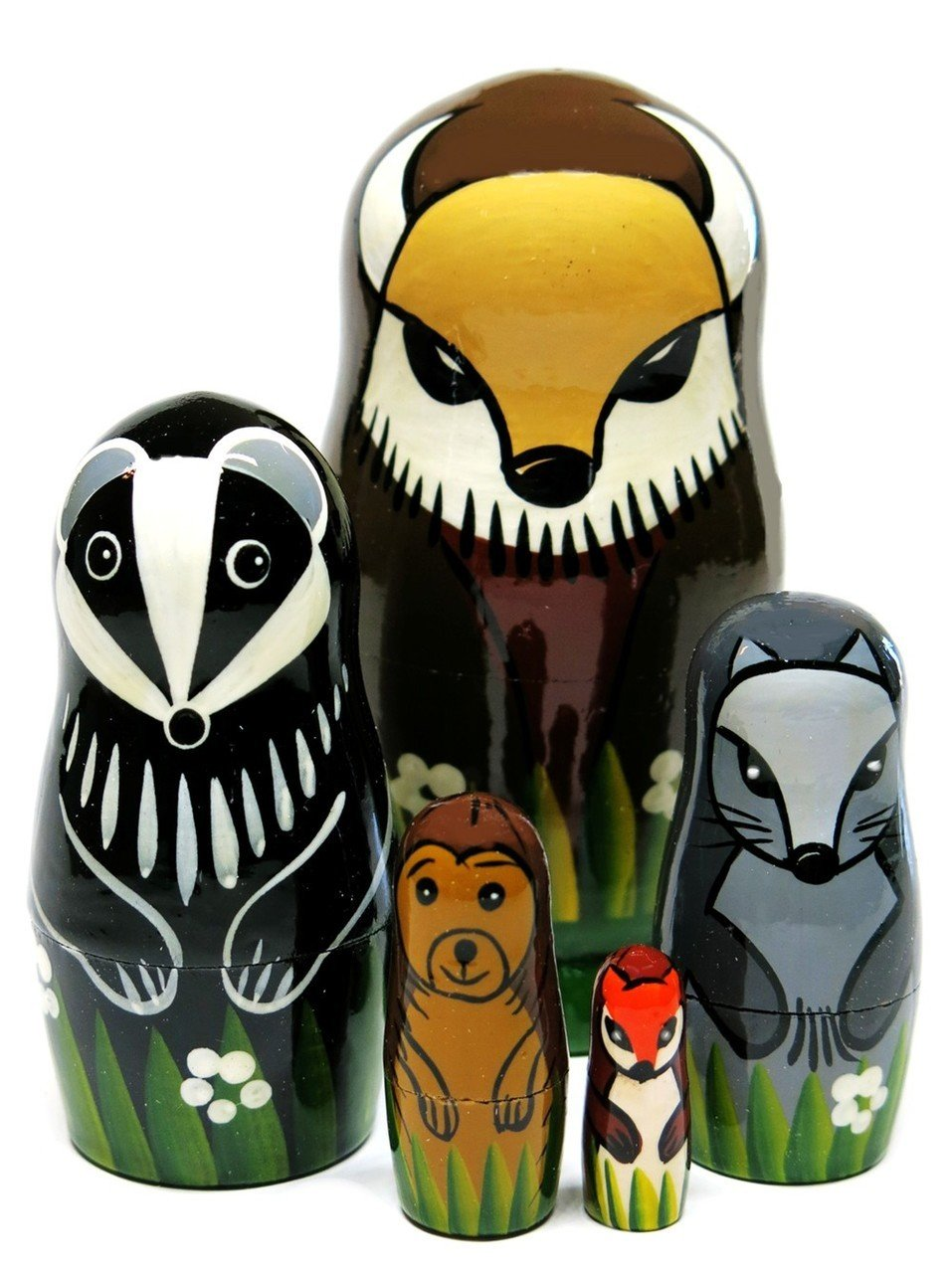 Bob The Buffalo and Friends North American Animals 5-Piece 4.5'' Russian Nesting Doll Wood Toy Set