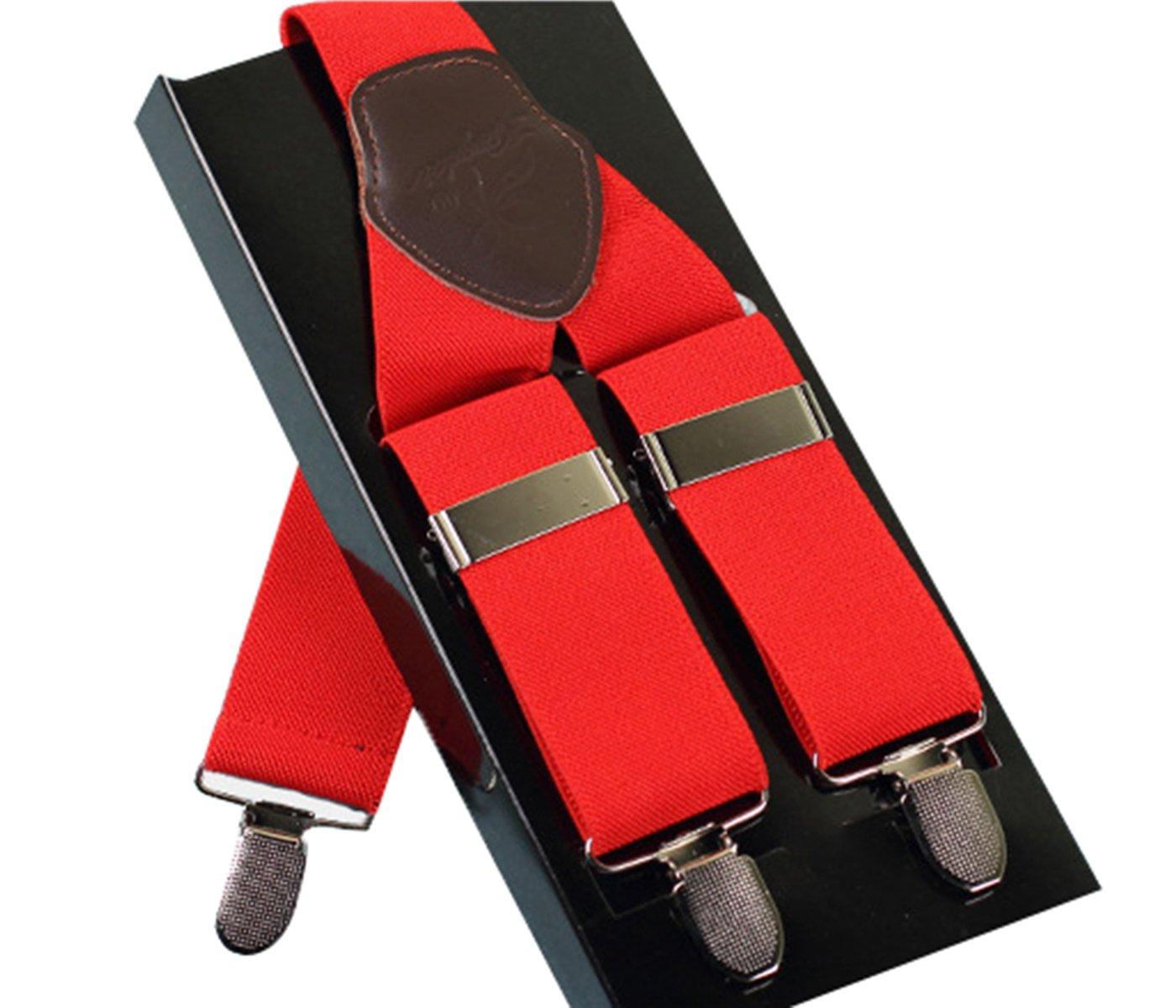 Panegy Men's Beautiful Colors Elastic Suspenders - light red LTJA0425