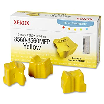 Xerox 108R00725 Solid Ink Phaser 8560/8560MFP, Yellow (3 Sticks) Sealed Xerox Box Laser Printers at amazon