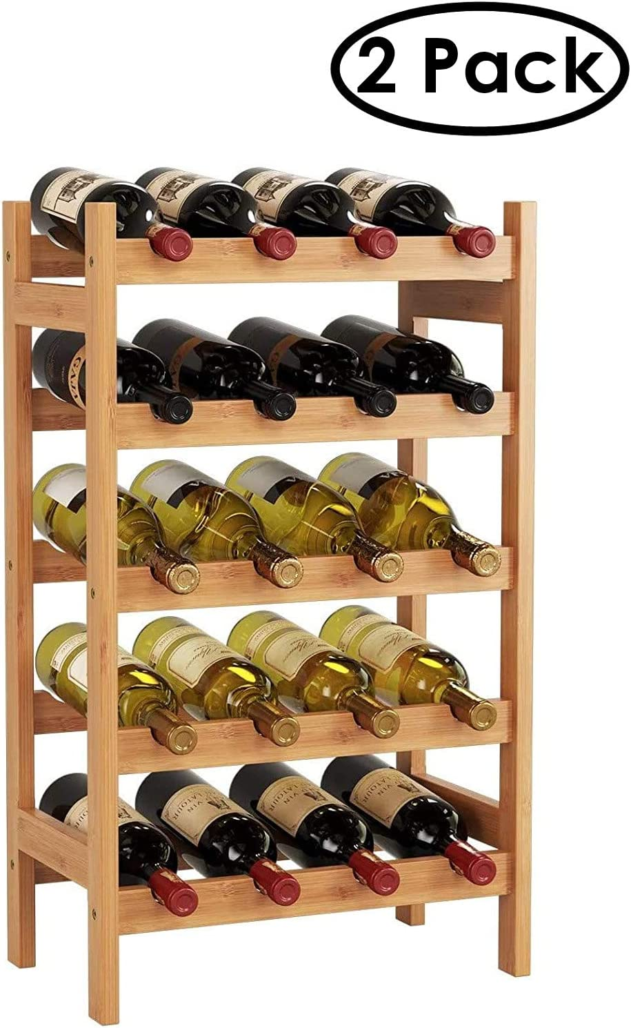 HOMECHO Bamboo Wine Rack with 5-Tier Storage Shelf 20 Bottles Display Stand Shelves Free Standing Wobble-Free Natural, 2 Pack, 43.5 x 25 x 73 cm