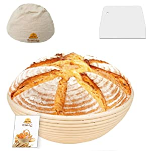 9 Inch Bread Banneton Sourdough Proofing Basket Set with Dough Scraper, Cloth Liner