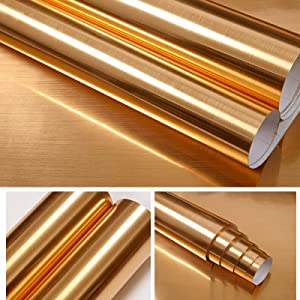 """Gold Wallpaper Stick and Peel Gold Contact Paper Self Adhesive Gold Wall Decor Metallic Wallpaper Stainless Steel Contact Paper Decorative for Bedroom Bathroom Kitchen Cabinets Refrigerator 15.7""""x196"""""""