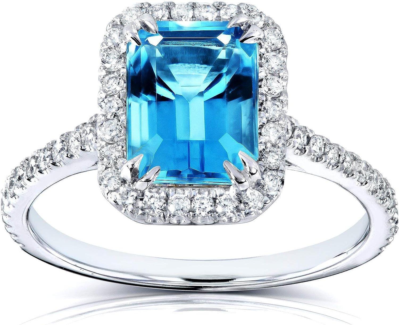 3Ct Emerald Cut Blue Topaz /& Diamond Rectangular Pendant 14k Yellow Gold Finish