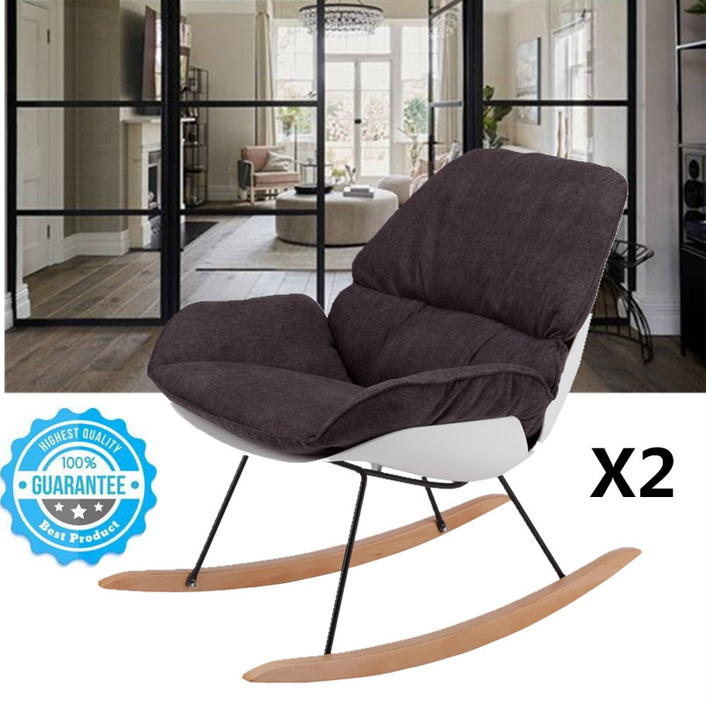 Modern Rocking Chair Set of 2 - Leisure Lounge Wood Accent Living Room Chair with Rebar and Wood Support