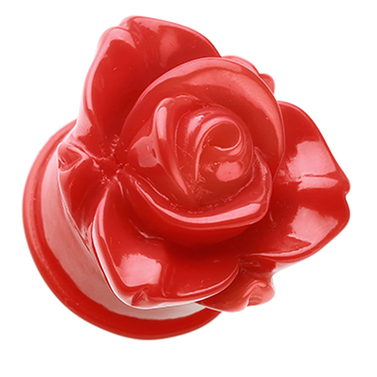 Red Sold as a Pair Wild Rose Flower Blossom Single Flared Ear Gauge Plug