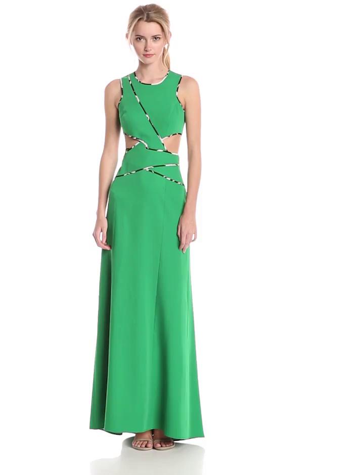 BCBGMax Azria Women's Nikkole Sleeveless Side Cut Out Gown, Malachite, 8
