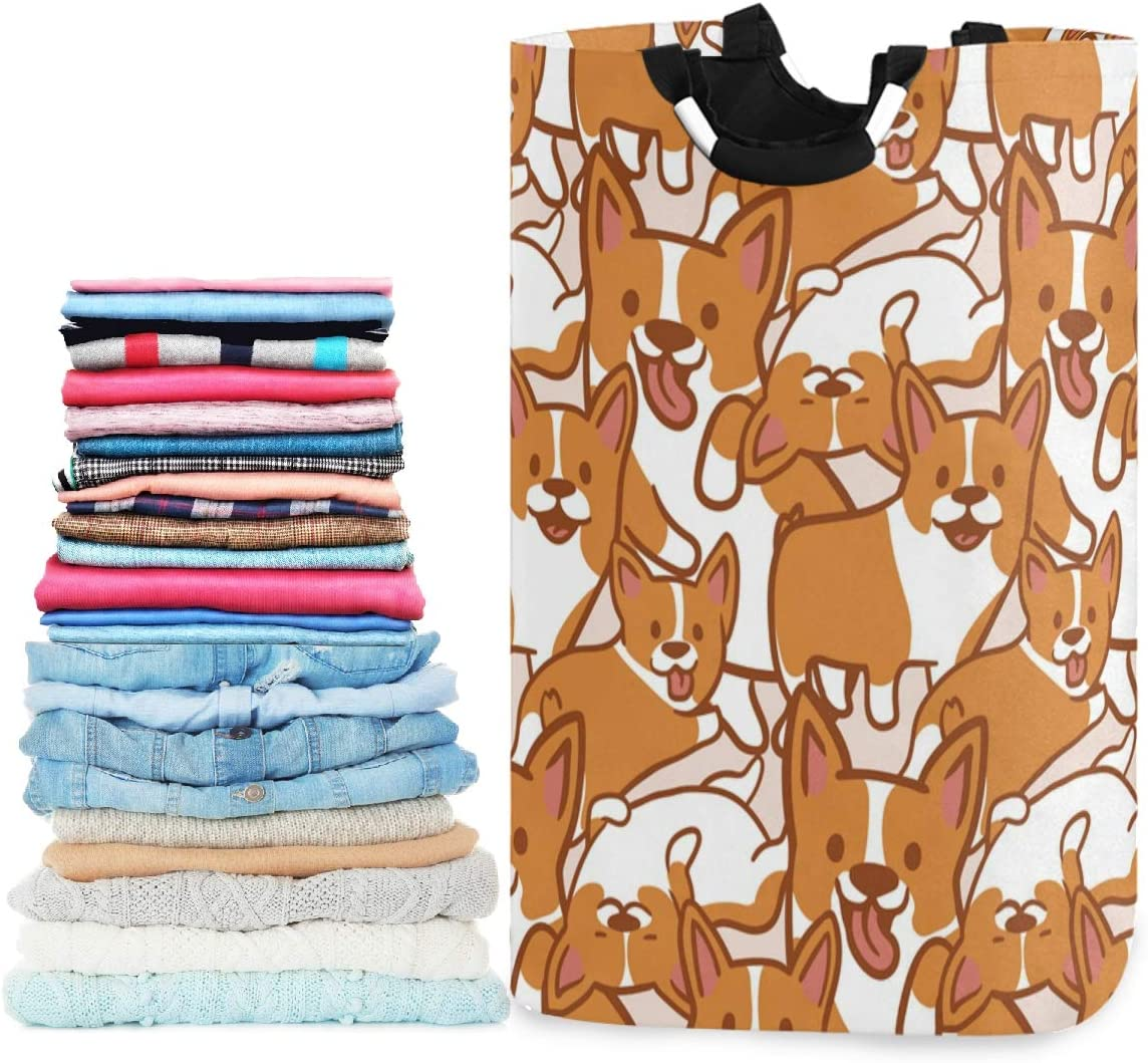 visesunny Collapsible Laundry Basket Cartoon Corgi Dog Animal Large Laundry Hamper with Handle Toys and Clothing Organization for Bathroom, Bedroom, Home, Dorm, Travel