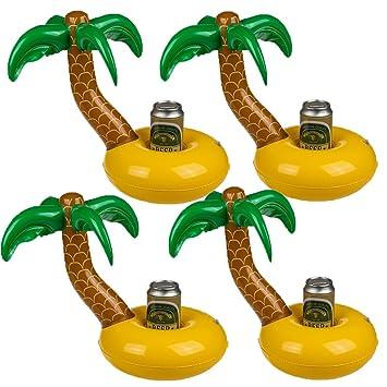 Bada Bing Juego de 4 Hinchable Soporte para Bebidas Palmera con Isla Flotador (Jardín Piscina Deko 91: Amazon.es: Juguetes y juegos