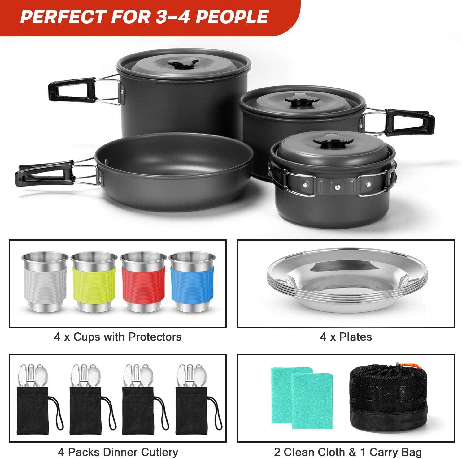 Odoland Camping Kit de Utensilios de Cocina de 27 Piezas para 4 Personas, Set de Ollas y Sartén Ligeras Antiadherentes con Tazas de Acero Inoxidable ...