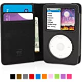 Snugg Leather iPod Case in Black with Lifetime Guarantee - Flip Cover with Protective Premium Nubuck Fibre Interior for the Apple iPod