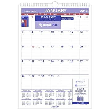 Amazon.Com : At-A-Glance Monthly Wall Calendar, January 2018