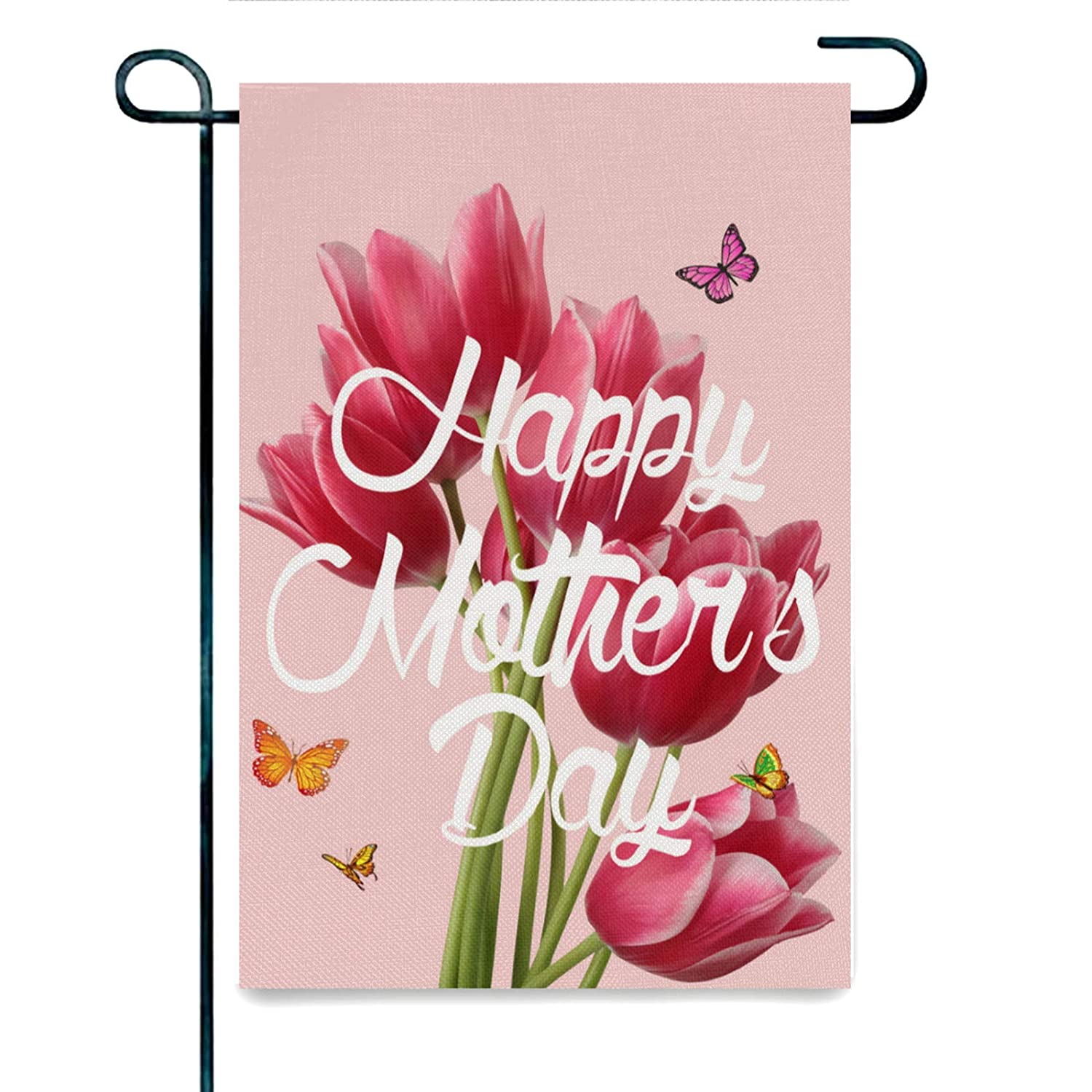 Mother's day Garden Flag Vertical Double Sided Tulips Burlap Yard Flags for Outside Yard Outdoor Mother's Day Decorations 12 x 18 Inch