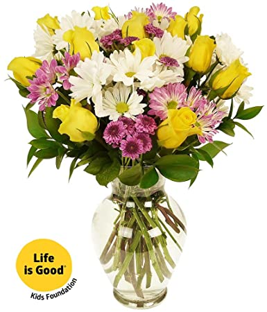 Amazon benchmark bouquets life is good flowers yellow with benchmark bouquets life is good flowers yellow with vase mightylinksfo