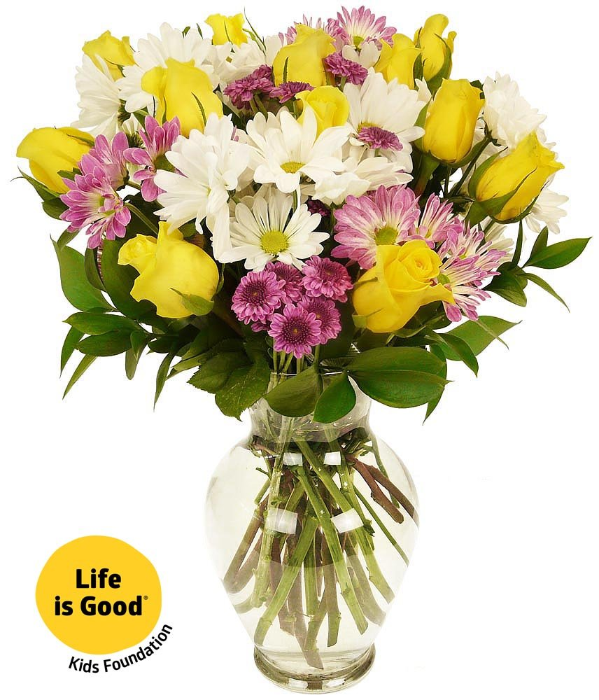 Amazon benchmark bouquets assorted peruvian lilies with vase benchmark bouquets life is good flowers yellow with vase izmirmasajfo