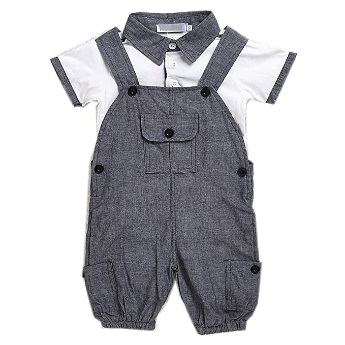 9cb660a22 Amazon.com  Evelin LEE Infant Newborn Baby Boys Gentleman Romper ...