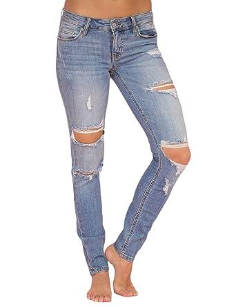 7daed8ef1d4c34 Sidefeel Women Casual Faded Wash Distressed Skinny Jeans Medium Light Blue