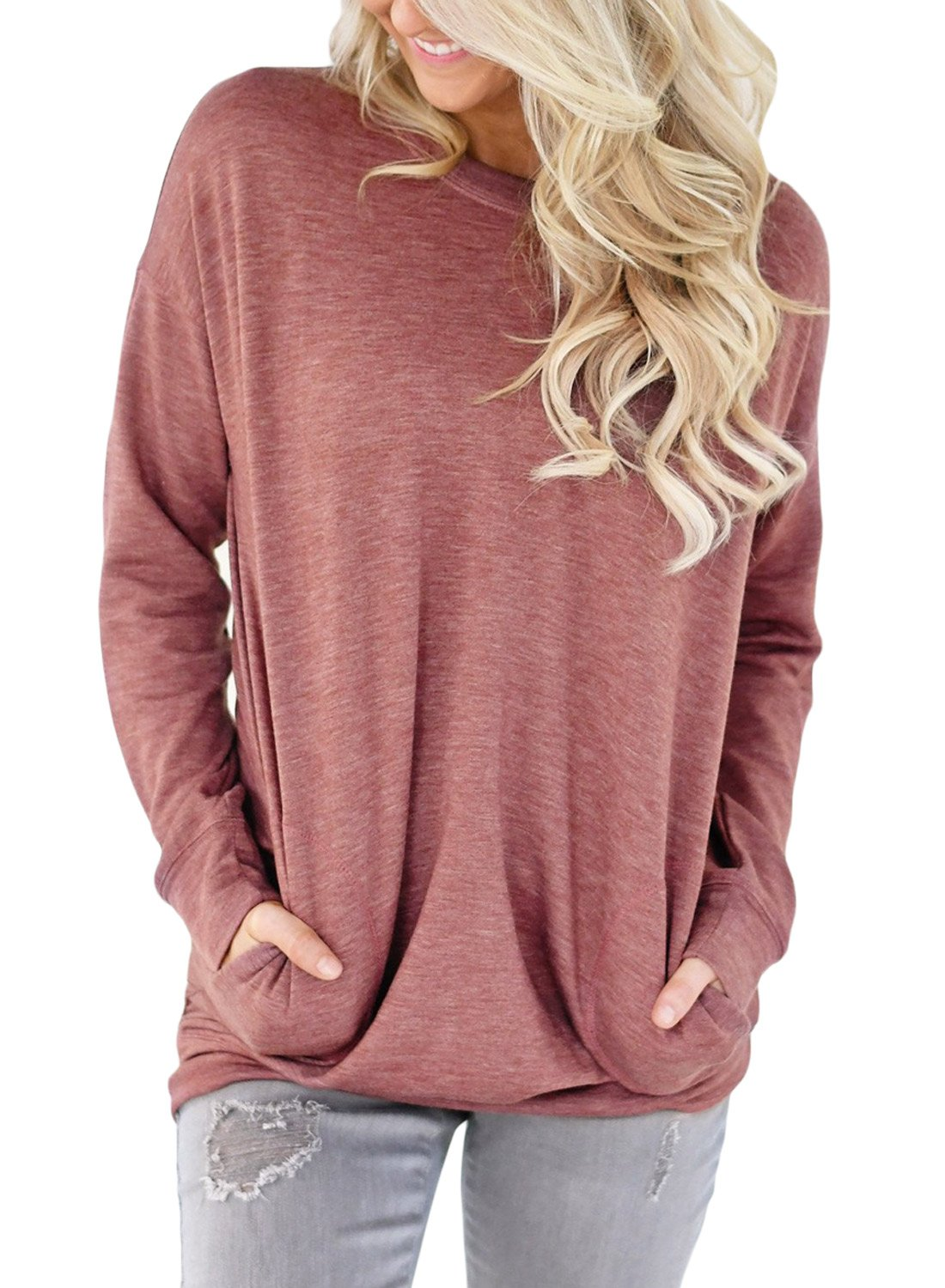 DOKOTOO Womens Long Sleeve Crew Neck Sweatshirt Solid Color Pullover Tunic Tops with Pockets ZSY250419