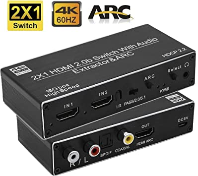 4K UHD 3x1 V2.0 HDMI Switch With Audio Extractor ARC SPDIF L//R 2.0 HDR LPCM DTS