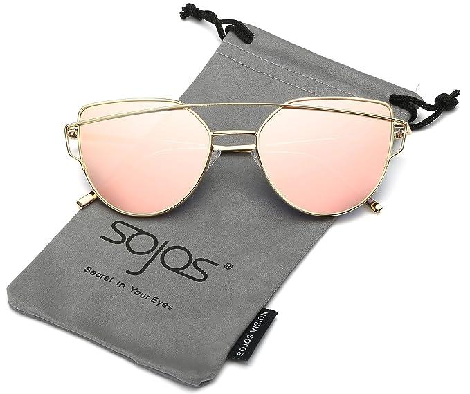 SOJOS Gafas De Sol De Moda Marca Metal Para Mujer-Lentes Planos De Espejo- Con Estilo Ojo De Gato SJ1001 Dorado Frente/Rosado Lentes