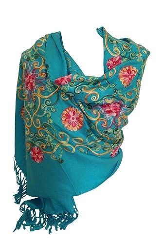 Premium Lush bordado pashmina sentir bufandas mantón estola envolver cabeza bufanda