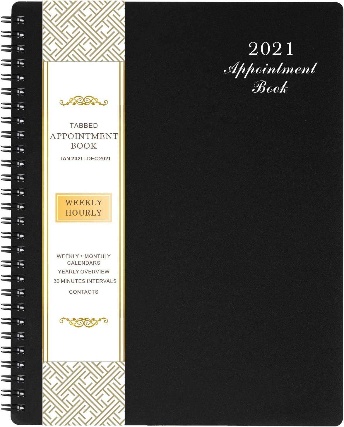 "2021 Weekly Appointment Book/Hourly Planner 2021 - Weekly Planner 2021, 8"" x 10"", Jan. 2021 - Dec. 2021, Hourly Interval, Twin-Wire Binding, Lay - Flat, Black"