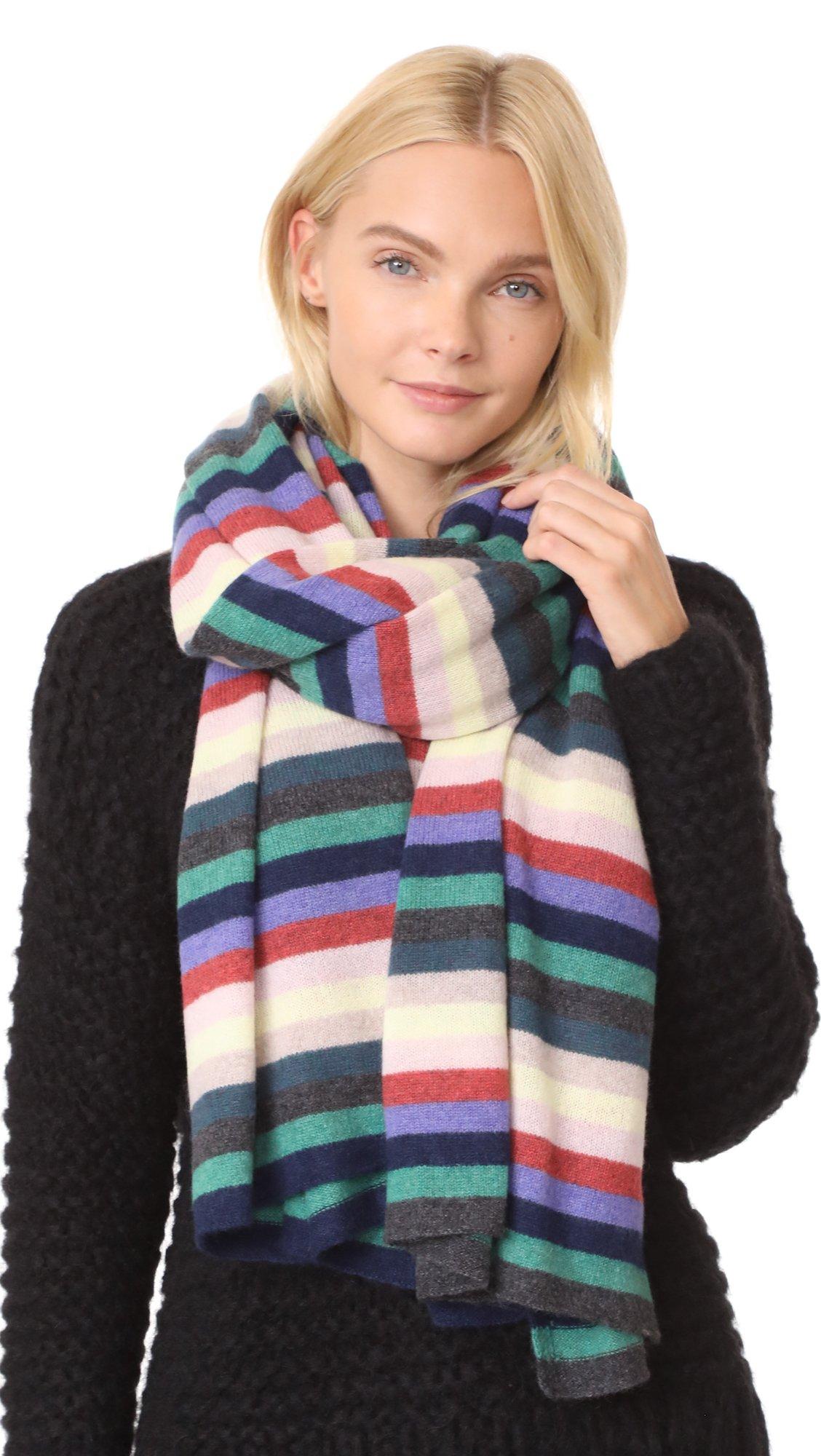 White + Warren Women's Cashmere Stripe Travel Wrap Scarf, Rainbow Multi, One Size by White + Warren