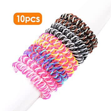 Amazon.com   Spiral Hair Ties No Crease Elastic Ponytail Holders Phone Cord  Traceless Hair Ring Suitable for All Hair Types 5 Colors fee35340f1c