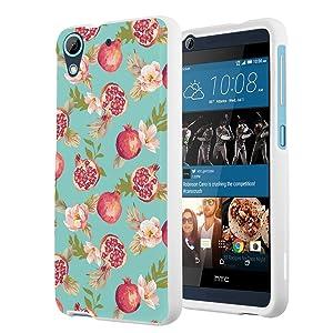 HTC Desire 626s Case, HTC Desire 626 Case, Capsule-Case Slim Fit Snap-on White Hard Case for HTC Desire 626s / HTC Desire 626 - (Pomegranate Floral)