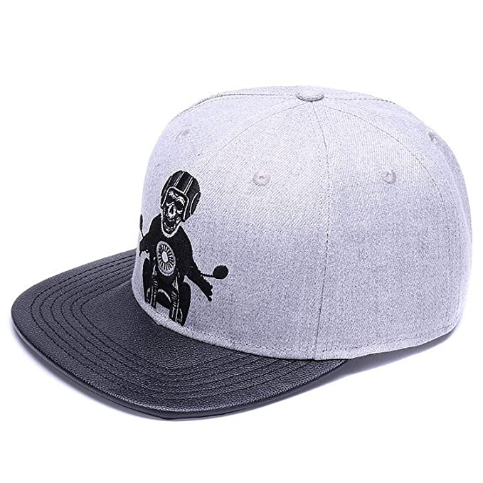 XINBONG Skeleton Baseball Cap Adjustable Men Hats Leather Patch caps Gorras 6 Panel Bone Fitted Hip hop Cap Grey Black at Amazon Womens Clothing store: