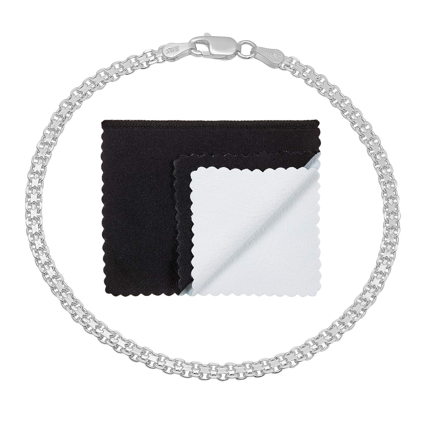 3mm .925 Sterling Silver Nickel-Free Italian Bismark Link Bracelet or Anklet, 10 inches + Cleaning Cloth