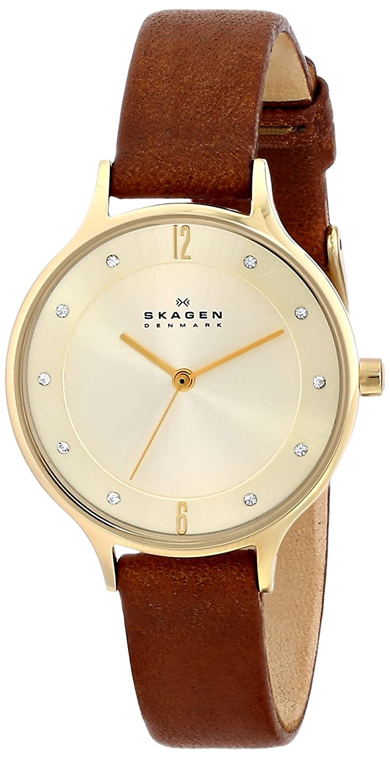 f341eccfdc Amazon.com  Skagen Women s Anita Quartz Stainless Steel and Leather Casual  Watch
