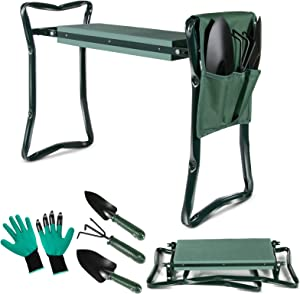 Topmart Upgraded Garden Kneeler Seat Garden Stools Portable Stool with 3 Extra Free Tools and Tool Pouch EVA Foam Pad Outdoor Foldable Sturdy Gardening Tools for Gardeners