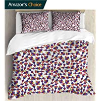 VROSELV-HOME Full Queen Duvet Cover Sets,Box Stitched,Soft,Breathable,Hypoallergenic,Fade Resistant 100% Cotton Reversible 3 Pieces Kids Girls Boys Bedding Sets-Colorful Abstract Shapes Dots