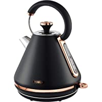 Tower T10044RG Cavaletto 1.7 Litre Pyramid Kettle with Rapid Boil, Detachable Filter, Stainless Steel, 3000 W, Black and…