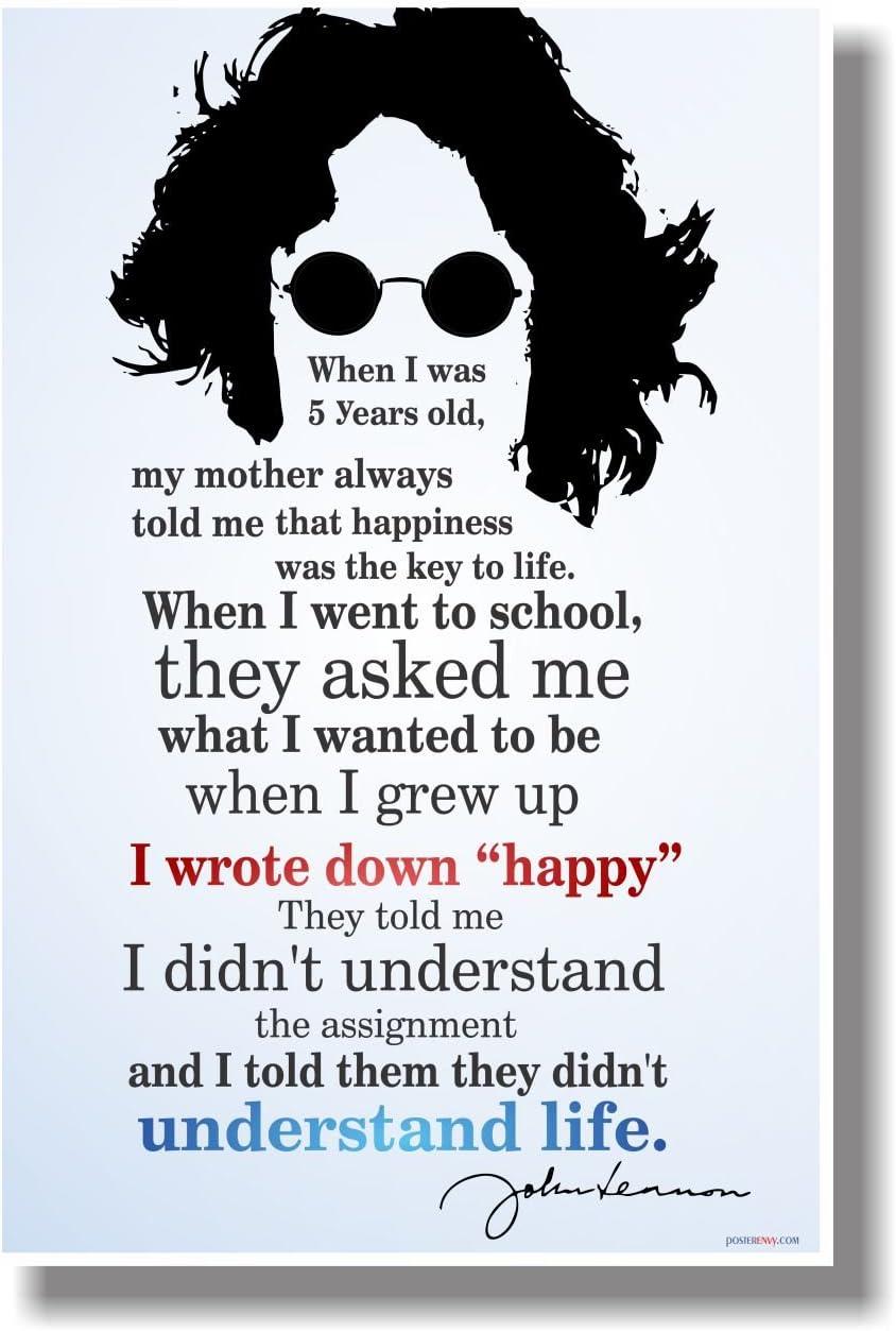 """I Wrote Down """"Happy"""" 2 - John Lennon - NEW Classroom Motivational Poster"""