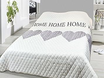 Fashion&Joy XL Bettüberwurf Herzen Tagesdecke gesteppt 220x240 Steppdecke  Home weiß grau Überwurf ÖKOTEX Decke Cottage Country Shabby Chic Typ456