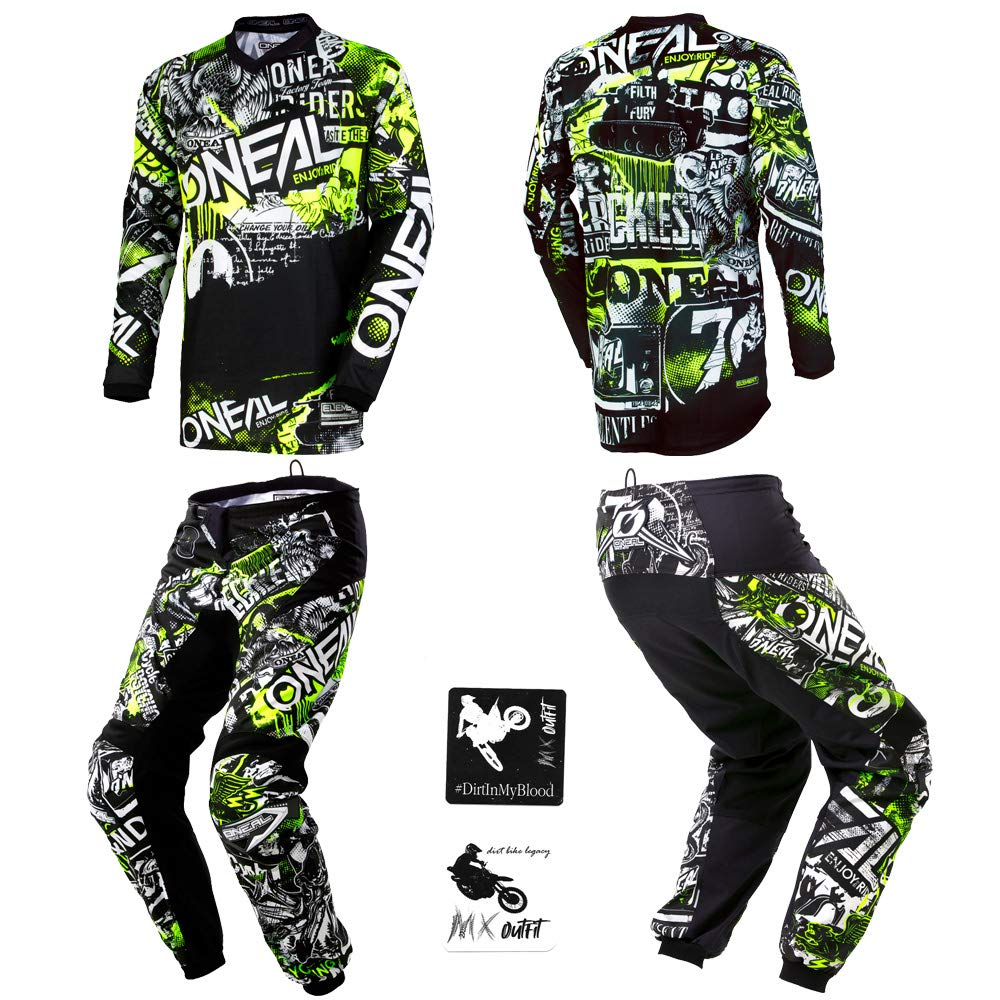 O'Neal Kids/Youth Element Attack Hi-Viz motocross MX off-road dirt bike Jersey Pants combo riding gear set (Pants 8/10 (24) / Jersey Kids Medium) by O'Neal