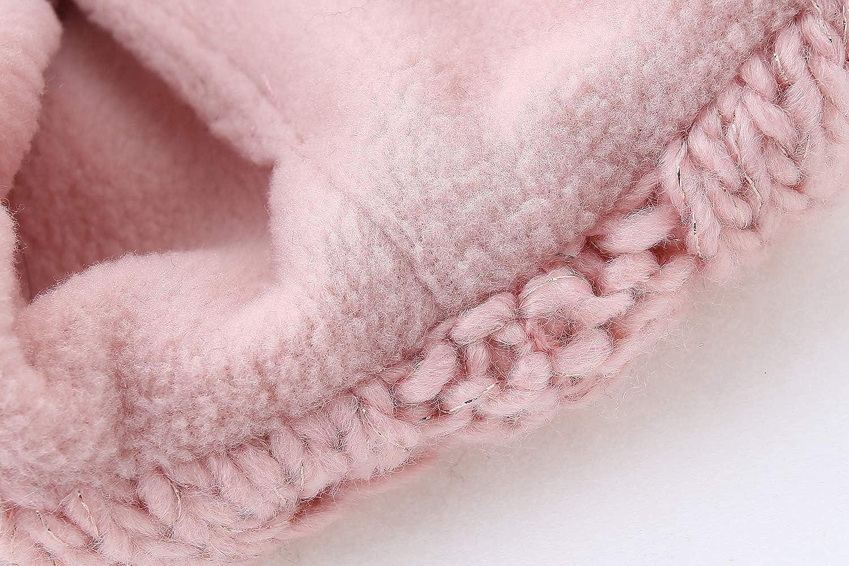 Girls Knitted Earflaps Hat Children Thicken Fleece Lining Cap Winter