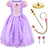 Princess Costume Long Hair Rapunzel Dress for Girls Party Dress Up With Braid,Earings,Tiaras & Wand 3-10 Years