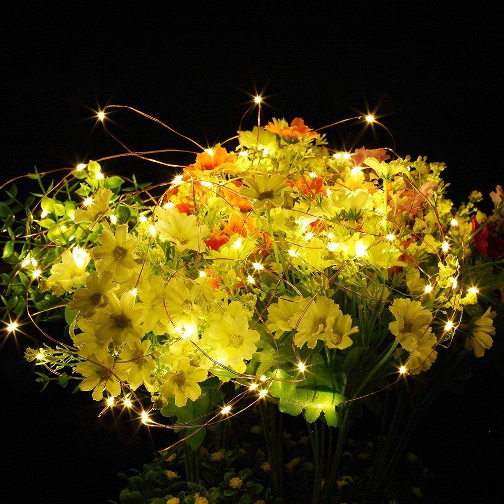 ichterkette Batterie, 2er 10M 100 LED Lichterkette Timer-Fernbedienung und IP65 Wasserdicht für Party, Garten,Hochzeit[10M] (warmweiß)