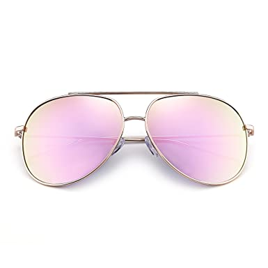 5487dc67380 Oversized Aviator Sunglasses Gradient Lens Alloy Frame Eyeglasses for Men  Women Pink  Amazon.co.uk  Clothing