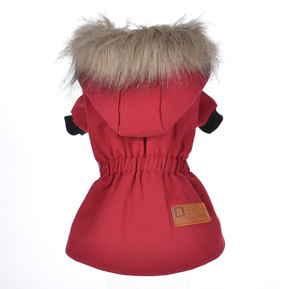 Cat Pet Small Dog Doggy Clothing Winter Warm Padded Thickening Vest Coat Dog Costumes Pet Fur Collar Clothes Sweater Dog Shirt Apparel Doggy Vest Puppy Sweatshirt Outfits Doggy Dress (Red, S) by succeedtop (Image #3)
