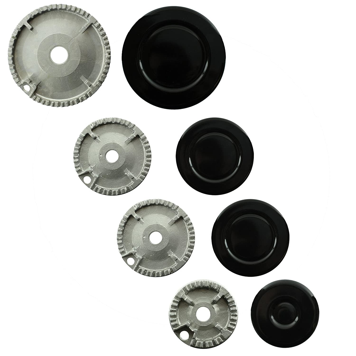 SPARES2GO (Non Universal) Oven Cooker Hob Gas Burner Crown & Flame Cap Kit for Neff (Small, 2 Medium & Large, 55mm - 100mm)