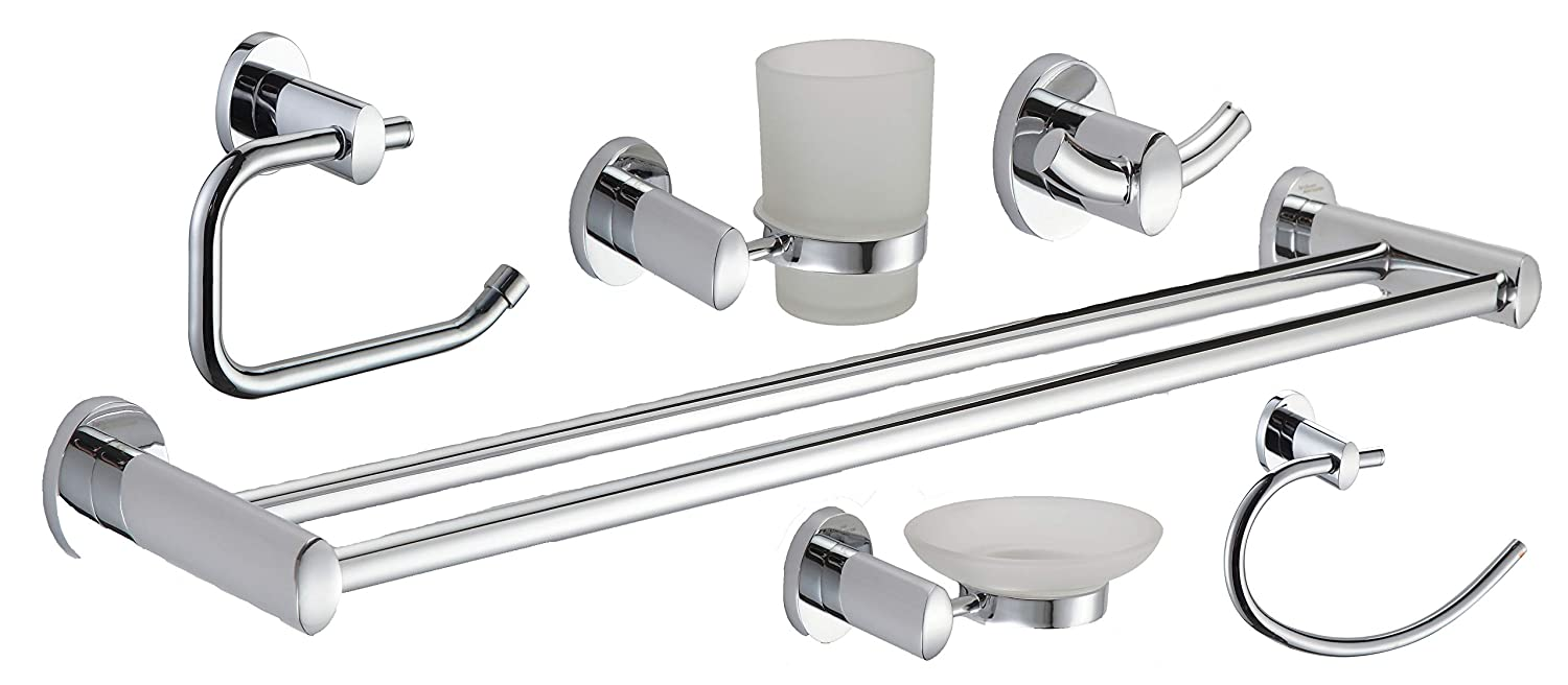 Modern Style Bathroom Accessory Chrome 6 Piece Complete Set BA1400 Mendko