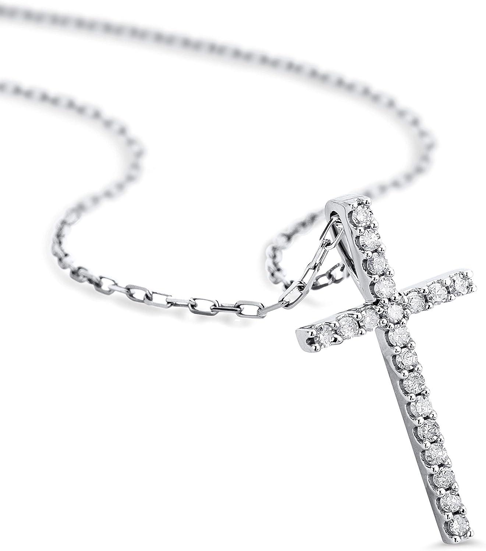 Orovi Collar Señora Cruz con cadena en Oro Blanco con Diamantes Talla Brillante 0.10 ct Oro 9 Kt / 375 Cadena 45 Cm