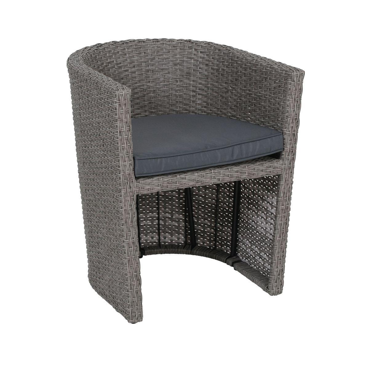 118 x 58 x 72 cm grau greemotion Kuba Balkonset aus Tisch und 2 St/ühlen