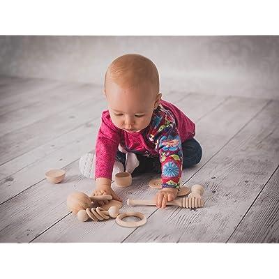 Cesto de los Tesoros Montessori 14 piezas de madera, juego para bebé de 6 meses