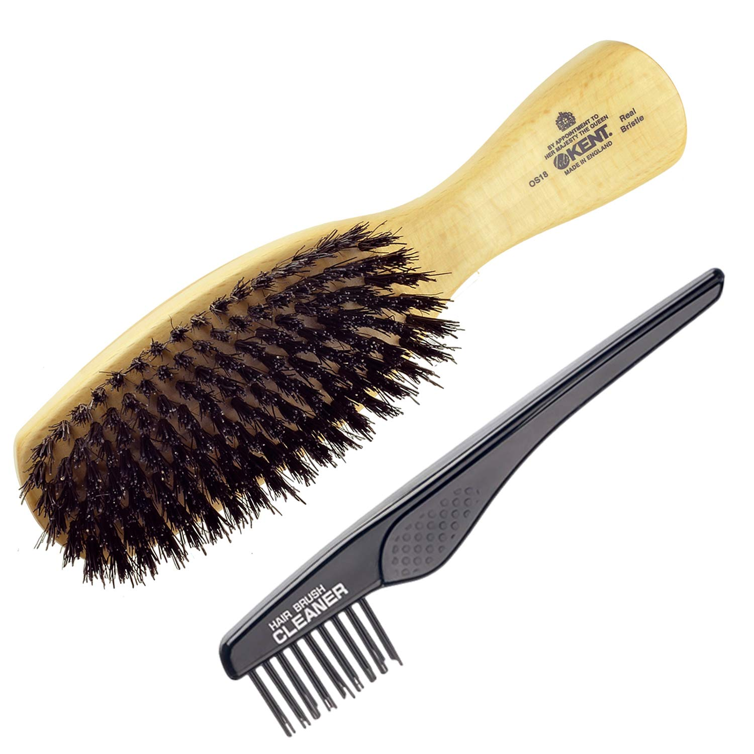 Kent Finest Men's OS18 Rectangular Club Satinwood Pure Black Bristle Gentleman's Hair Brush + Kent LPC2 Hair Brush Cleaner - Best Hair Care Kit for Men, 360 Wave Brush (OS18+LPC2) by KENT (Image #1)
